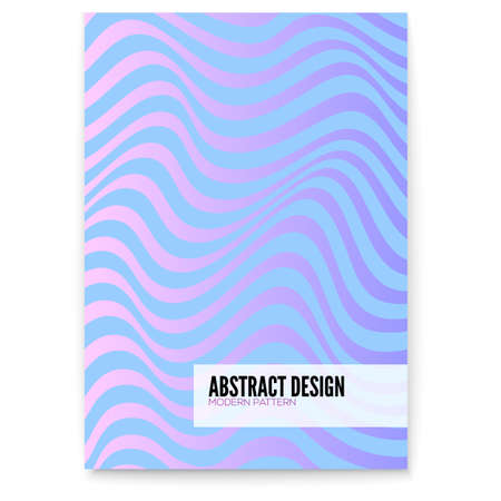 Vector layout from lines. Wavy uneven surface like flag or water. Minimalistic design in purple, aqua and pink bright trendy colors. Undulating backgrounds. Abstract distorted patterns from strips