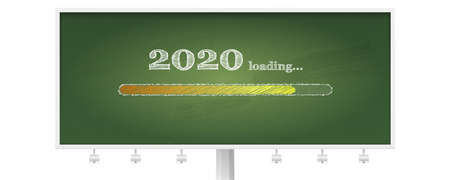 Billboard with school green chalkboard and progress bar counting down for New 2020 year s eve. Handwritten lettering of chalk on blackboard in doodle style. Counting of time reaching a New Year