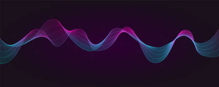 Dynamic flowing waves, abstract twisted vector lines isolated on dark background. Design elements, graphic concept of sound, music, technology, science
