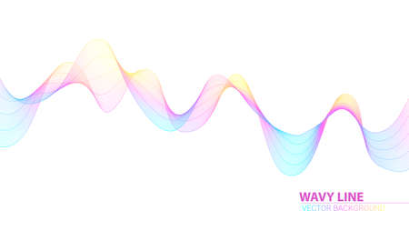 Dynamic flowing waves. Horizontal abstract wavy spun stripes. Twisted lines isolated on white background. Vector design elements, graphic concept of flow, music, technology, science Illustration