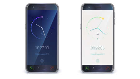 Smartphone, mobile phone isolated on white background. Clock application for apps on light and dark background. Digital countdown app, user interface kit, mobile clock. Vector 3d illustration.