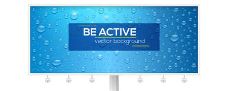 Realistic water drops on long blue billboard. Volumetric droplets with sun reflecting. Vector 3d illustration with natural water drops. Textured template with glowing water drops for banner, leaflet. Ilustrace