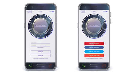 Smartphone, mobile phone isolated. UI design. Account authorization with login and password fields for touch screen mobile apps. UX Screen with digital lock on login page, vector 3d illustration Ilustração