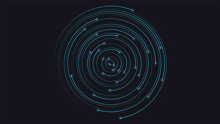 Banner with radial lines with glow of end and place for text. Dynamic flow on dark background. Abstract circular pattern moving flow. Optical art, vector design elements. Foto de archivo - 129149900