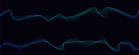 Two parallel twisted pattern. Dynamic flowing waves isolated on dark background. Abstract wavy spun lines. Optical art, vector design elements.