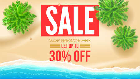 Sale, get up to 30 percent discount. Seashore with green palms on yellow sand on the beach with sea surf. Vector template, 3d illustration Ilustração