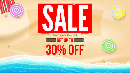 Sale, get up to 30 percent discount. Supper sale of the week. Seashore with sun umbrellas on yellow sand near sea surf. Banner for actions of summer sale. Vector template, 3d illustration