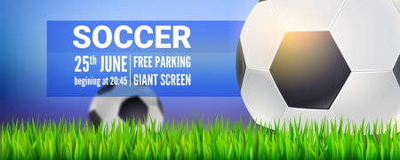 Football balls on field of stadium in green grass. Modern sport banner for soccer tournament, competition or championship. Realistic soccer balls close up on background of sky. Vector 3d illustration