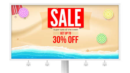 Billboard with super sale proposal. Sale, get up to 30 percent discount. Seashore with sun umbrellas on yellow sand near sea surf. Banner for actions of sales. Vector template, 3d illustration
