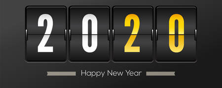 Countdown to new year 2020. Retro flip clock on black background. Template of greeting cards. Counting moment of onset Christmas or New Year 2020. Vector 3d illustration