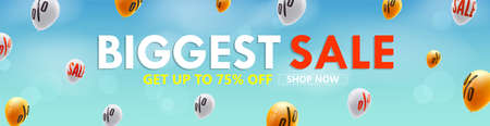 Biggest sale, get up to 75 percent discount. Shop now. Advertising on background of flying balloons with sign of price reduction in blue sky. Vector template 3d illustration. Ilustração