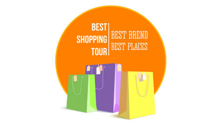 Best shopping tour. Template of design advertising banner, trip for cheap shopping. Big paper bags with tags. Concept of shopping tourism Illustration