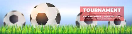 Soccer balls in green grass, close up on background of blue sky. Modern sport banner for football tournament, competition or championship. Vector template, 3d illustration Ilustração