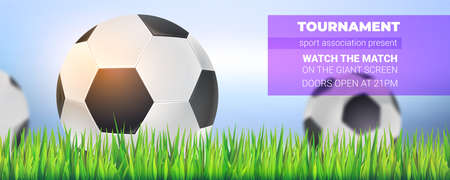 Football balls in green grass, close up on background of blue sky. Modern sport banner for soccer tournament, competition or championship. Vector template for poster, cover. 3d illustration Ilustração