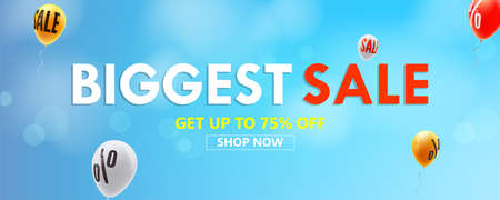 Biggest sale, shop now. Get up to seventy five percent discount. Banner with advertising. Balloons are flying in blue sky with sign of price reduction. Vector template 3d illustration.