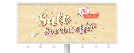 Sale special offer. Billboard with vintage card in pop art style with comic cartoon bubble. Get up discount go to shop now. Retro poster 60s with grunge texture. Vector 3d illustration Foto de archivo - 131128412
