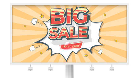 Big sale. Billboard with banner in Pop art style. Reduction of prices. Comic explosion and flying stars. Vintage design, vector template. Retro grunge pattern with scuffs texture, old school style Foto de archivo - 131128413