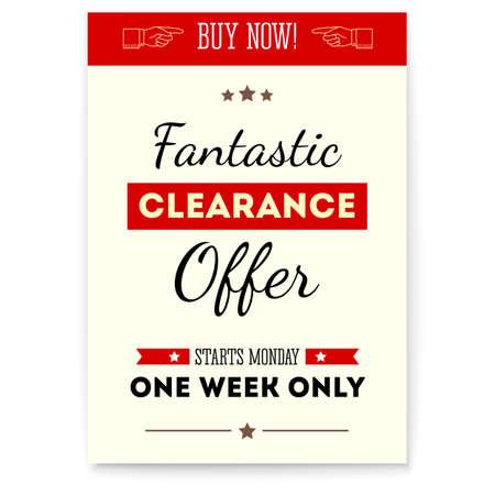 Clearance sale, fantastic offer. Vintage poster with design of text. Retro design of Vector banner, 3d illustration