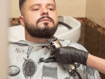 Males beaver cutting with clipper, close up view. Stylists hand in black rubber glove. Male in barbershop. Interior of hairdressing saloon. Selective soft focus. Blurred background