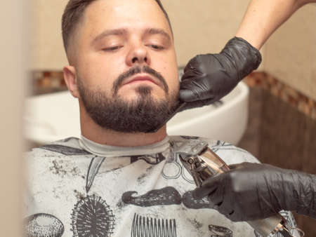 Beaver cutting with clipper and black comb, close up view. Stylists hands in black rubber gloves. Male in barbershop. Photographed in hairdressing saloon. Selective soft focus. Blurred background