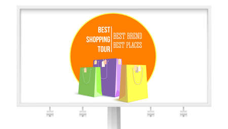 Best shopping tour. Billboard with design advertising banner, trip for cheap shopping. Big paper bags with tags. Concept of low-cost shopping tourism.