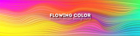 Bright abstract flowing pattern. Minimalistic background with modern colorful gradient lines. Template for dynamic design of cover, posters, flyer. Vector illustration EPS10.