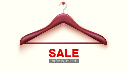Empty wooden hanger hanging on wall. Clearance sale, offer is limited. Template for poster with ad of discount for shopping. Vector banner, 3d illustration Ilustração