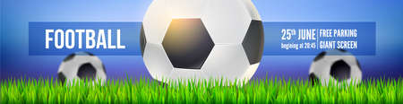 Football balls on field of sport arena in green grass close up on background of night sky. Modern sport banner for soccer tournament, competition or championship. Vector template. 3d illustration Ilustração