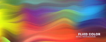 Abstract flowing pattern. Stream of colorful liquid shape. Modern background with gradient stripes. Flow of color ink. Template for dynamic design of cover, posters, flyer. Vector illustration EPS10 Ilustração