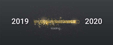 Golden loading bar with transition from 2019 to 2020 new year. Golden glittering dust on black background. Happy New Year card with progress bar. Vector illustration