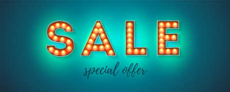 Sale. Text from glowing letters. Handwritten text special offer. Vintage signboard, retro fonts decorated light bulbs. Banner Vector sign with electric lighting bulbs, 3d illustration