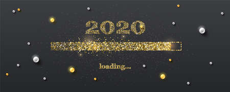Golden loading bar with transition to 2020 new year on black background. Happy New Year and Christmas card with glittering progress bar and gold and white pearls. Vector illustration