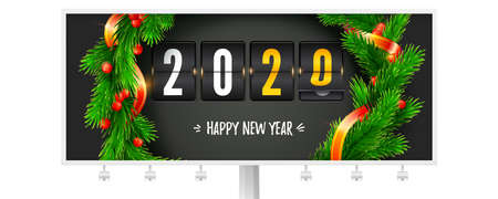 Billboard with greetings of Christmas or New Year 2020. Mechanical flip clock decorated of fir branches and ribbons. Hand lettering of happy new year written in chalk. Vector 3d illustration