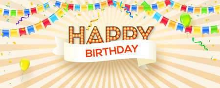 Happy birthday festive banner on sunrays background. Poster with lighting bulbs, confetti and hanging flag garlands. Design of lettering, postcard with decorative typography. Vector 3d illustration.