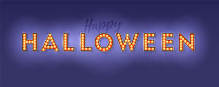 Happy Halloween card. Design of lettering, postcard with decorative typography. Festive banner with lighting bulbs, confetti and hanging flag garlands. Vector 3d illustration for invitation