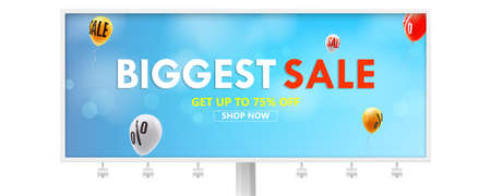 Billboard with advertising of biggest sale. Get up to seventy five percent discount, go for shopping now. Balloons are flying in blue sky with sign of price reduction. Vector template 3d illustration. 矢量图像