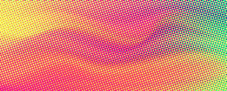 Abstract flowing halftone pattern. Vintage background with RGB dots. Retro style 80s of colors and textures. Template for dynamic design of cover, posters, flyer. Vector illustration EPS10