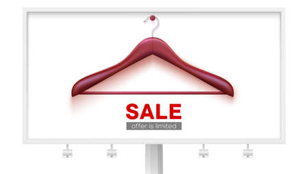 Clearance sale, offer is limited. Empty wooden hanger hanging on wall. Billboard with ad of discount for shopping. Vector banner, 3d illustration