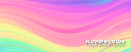 Abstract smoothly pattern from strips. Transitions of gradient of colorful liquid shape. Modern background with stream of color ink. Template for design of cover. Vector illustration 向量圖像