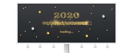 Festive billboard with loading bar. Transition to 2020 new year on black background. Happy New Year and Christmas card with glittering progress bar and gold and white pearls. Vector illustration