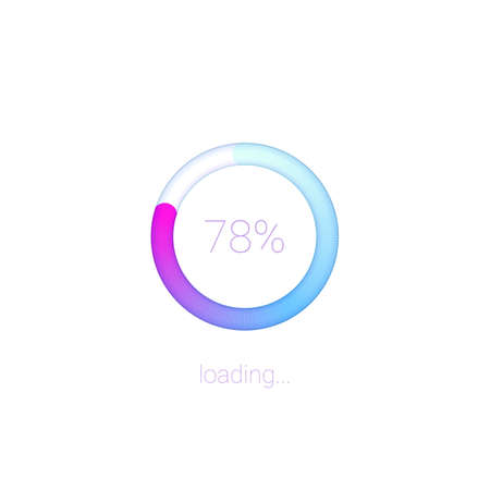 Modern 3D web preloader of updates. Progress bar with percentage of upgrades or downloads. Concept of mobile apps for data loading on light background with radial diagram