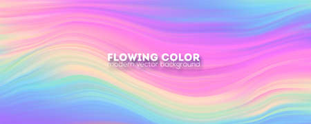 Stream of colorful liquid shape. Transitions of gradient harmony. Abstract smoothly pattern from strips. Modern background with color ink. Template for design of cover. Vector illustration