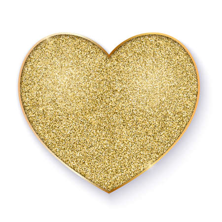 Golden heart with glittering texture. Golden symbol, isolated on white background. Icons for new year and valentines days holidays, luxury events. Vector illustration, EPS10