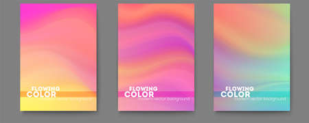 Set of posters with colorful liquid shape. Transitions of gradient harmony. Abstract smoothly pattern. Modern background with color ink. Template for design of cover. Vector illustration EPS10.