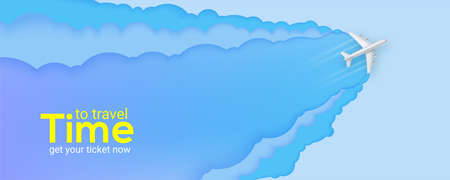 Silver passenger plane flies through the clouds. Blue sky carved from multi layered paper. Time to travel. Banner with realistic airplane and background cut out of paper. Vector 3d illustration, EPS10 Иллюстрация