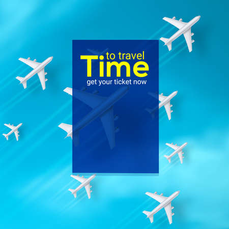 Planes are flying on blue sky background. Set of realistic 3d airplanes. Time to travel, advertisement banner with text. Vector illustration, eps10.