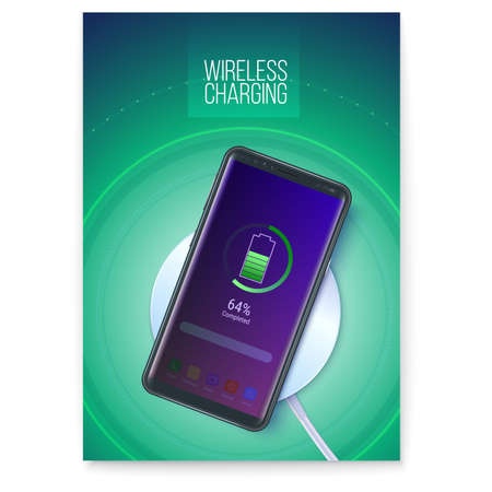 Poster with infographics of wireless charging technology. Battery icon and progress charging the battery of the phone is visible on screen of smartphone. 3d vector illustration, EPS10 Vectores
