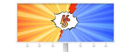 Billboard with letters VS on background in comics books style. Template for sports, martial arts, competition. Red and blue background with halftone effect and red lightning. Vector 3D illustration