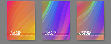 Set of posters with bright abstract flowing pattern from bended strips. Modern background for dynamic design of cover, posters, flyer. Vector illustration EPS10. Ilustração