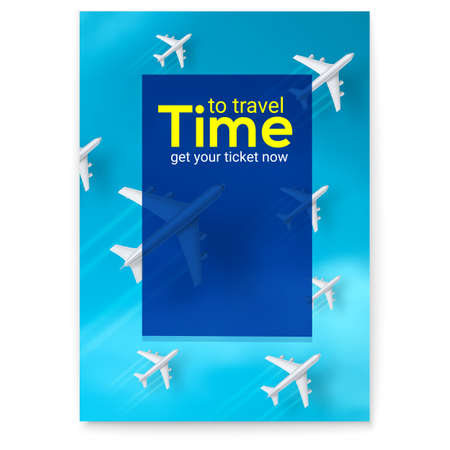 Planes are flying on blue sky background. Time to travel, advertisement poster. Set of realistic 3d airplanes. Vector illustration, eps10.